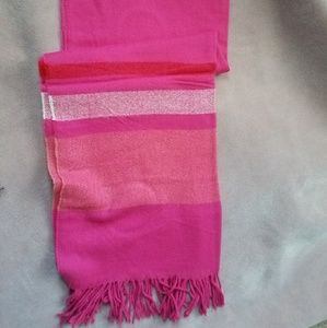 Oversized soft pink striped scarf